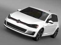 Volkswagen Golf GTI 5 door 2015 3D Model