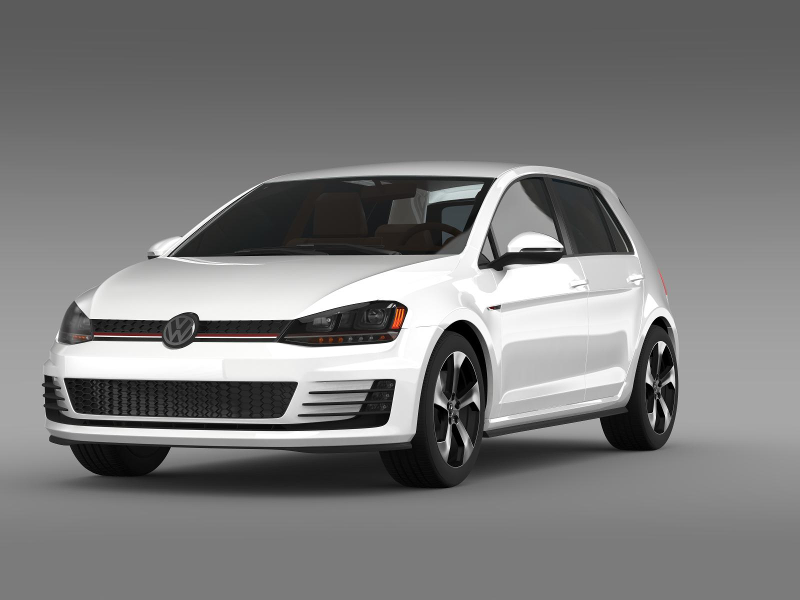 volkswagen golf gti 5 door 2015 3d model. Black Bedroom Furniture Sets. Home Design Ideas