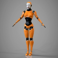 Robotic Girl 3D Model