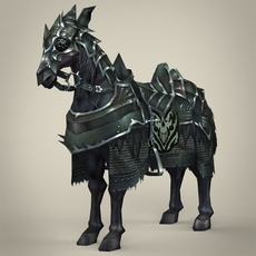 Fantasy Medieval Warrior Horse 3D Model