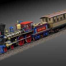 Jupiter Steam Train 1868 3D Model