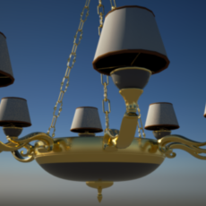 Gold Classic Chandelier 3D Model