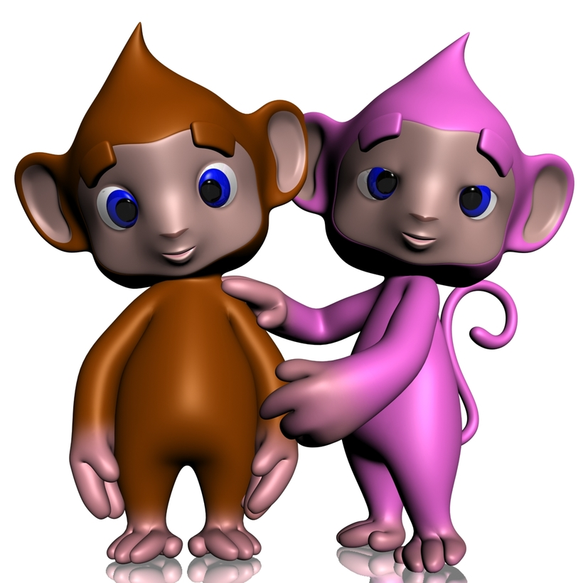 Colorful Cartoon Monkey RIGGED 3D Model
