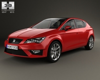 Seat Leon FR 5-door hatchback with HQ interior and engine 2013 3D Model