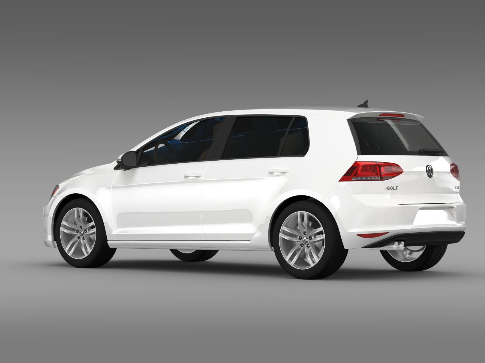 volkswagen golf tdi 5d 2015 3d model. Black Bedroom Furniture Sets. Home Design Ideas