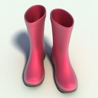 Pink Wellington Boots 3D Model