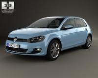 Volkswagen Golf 5-door with HQ interior 2013 3D Model