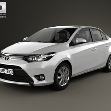 Toyota Yaris sedan with HQ interior 2014 3D Model