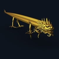 Straight Chinese Dragon 1 3D Model