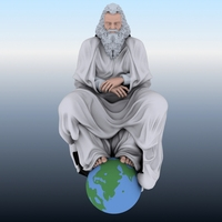 Old Man Sitting on Globe 3D Model
