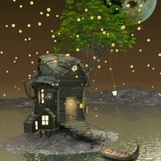Fantasy Wooden Cottage 3D Model