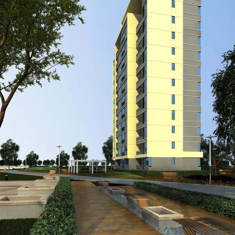 High Rise Residential Building 055 3D Model