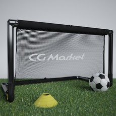 Portable Soccer Net / Goal with Ball and Training Cone 3D Model