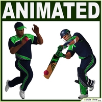 Cricket Batter and Bowler CG 3D Model
