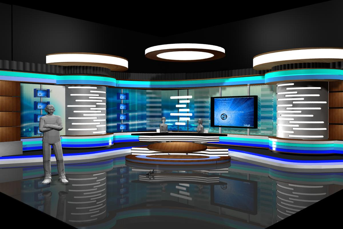 Tv News Room Studio 002 3d Model