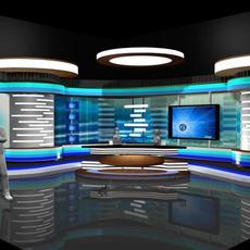 TV News Room Studio 002 3D Model