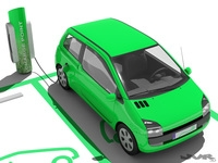 Electric Car and Charging Post 3D Model