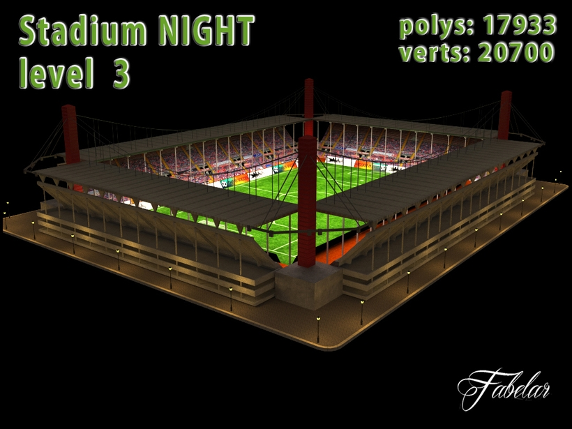 Stadium Level 3 Night 3D Model