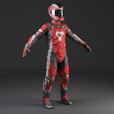 Biker Motorcycle Rider - Rigged 3D Model