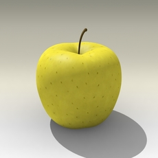 Photorealistic Yellow Apple 3D Model