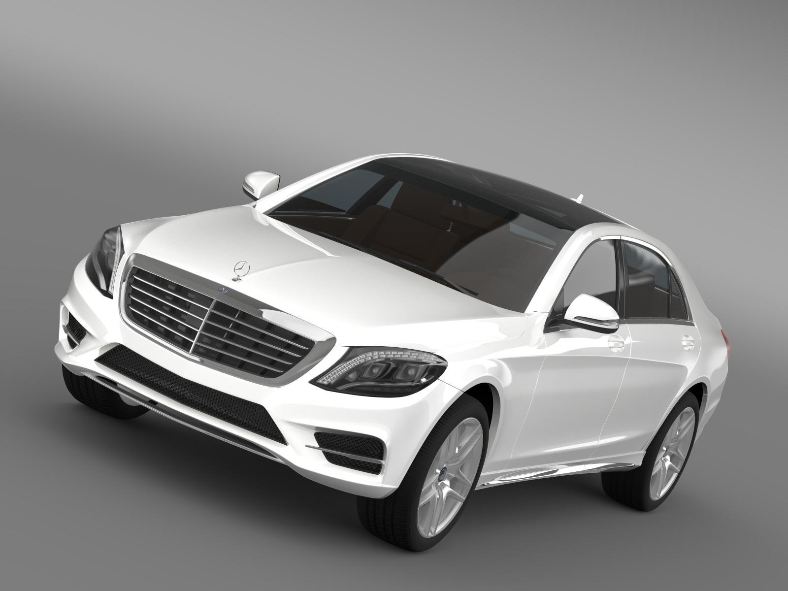 Mercedes benz s 300 bluetec hybrid w222 2013 3d model for Mercedes benz bluetec