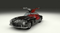 Rigged Mercedes 300SL Gullwing with Interior 3D Model