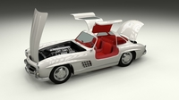 Fully Modelled/Rigged Mercedes 300SL Gullwing 3D Model