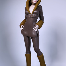 Girl wearing winter clothes 3D Model