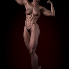 Short blonde hair bodybuilding woman 3D Model