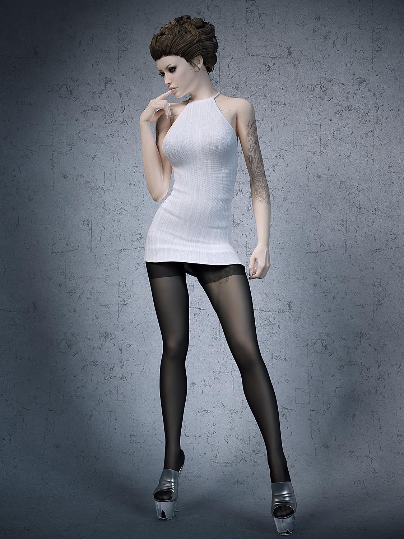 Stockings High Heels Office Girl 3D Model-9063