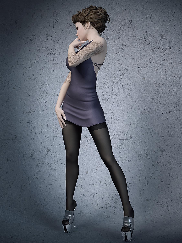 Stockings High Heels Office Girl 3D Model-1471