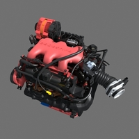 Car V6 Engine 3D Model