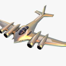 Silver futuristic plane 3D Model