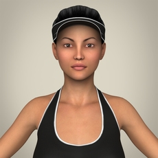 Realistic Young Beach Sports Girl 3D Model