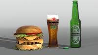 Hamburger and Heiniken beer 3D Model