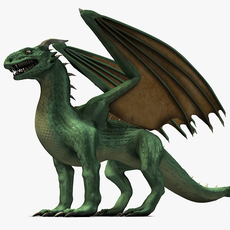 Winged green dragon 3D Model