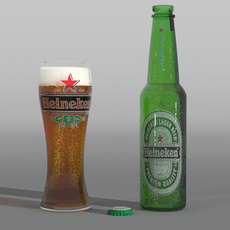 Heiniken and glass of beer 3D Model