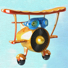 Airplane cartoon 02 3D Model