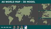 AS 3d WorldMap Planisphere 3D Model