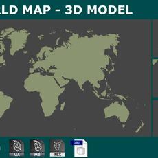 AS 3d WorldMap Planisphere 3D Model