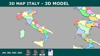 AS 3d Map Italy with all regions shape - PLANISPEHERE 3D Model