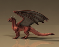 Winged red dragon 3D Model