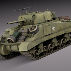 M4A2 Sherman Tank with equipment 3D Model