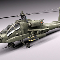 AH-64A Apache Helicopter 3D Model