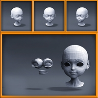 Cartoon girl head 3D Model