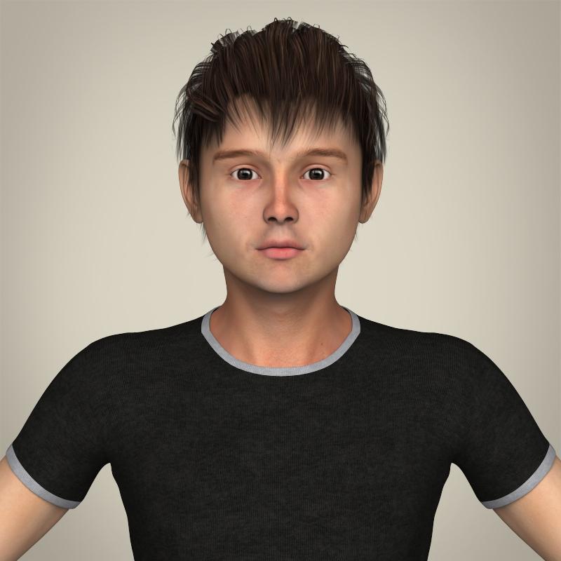 Realistic Young Teen Boy 3D Model-2896