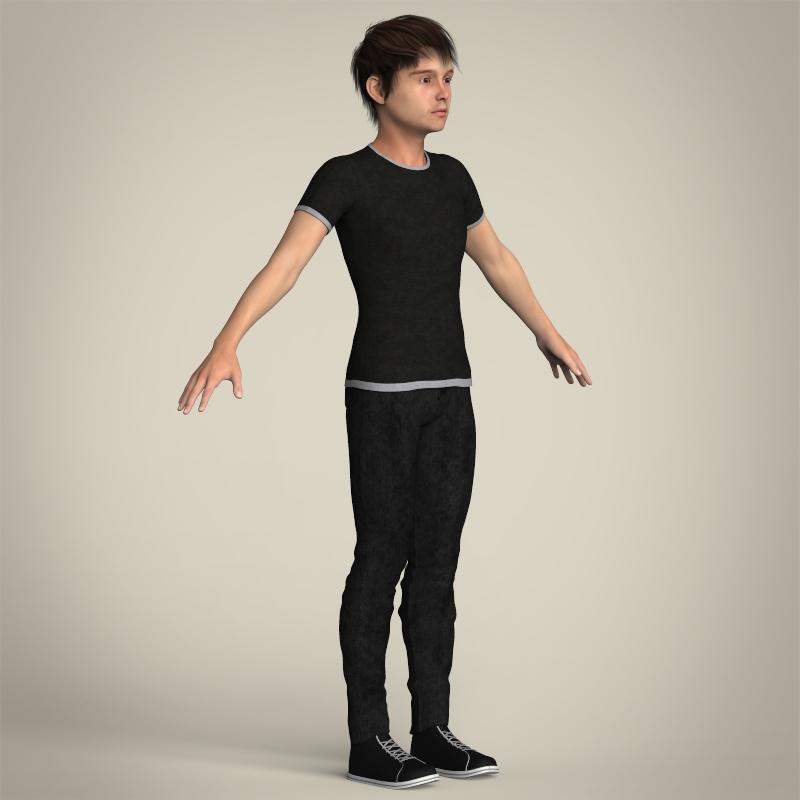 Realistic Teen Boy 3D Model .max .obj .3ds .fbx .c4d .lwo
