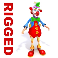 Clown cartoon rigged 3D Model