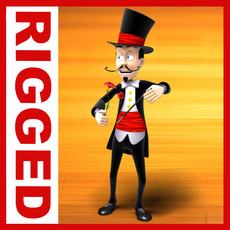 Magician cartoon rigged 3D Model