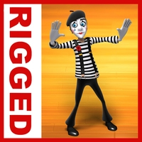 Mime cartoon rigged 3D Model